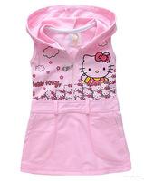 Free shipping 2015 New arrive children vest dress Hello kitty girl hooded sundress summer baby dresses Retail