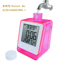 Fashion Digital LCD Display Water Powered Clock Hydropowered Alarm Clock Calendar Free Shipping