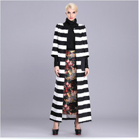 European Fashion Black White Striped A-Line X-Long Trench Coat Woman 2014 Winter Elegant 3/4Sleeve Maxi Dress Coat Plus Size 3XL