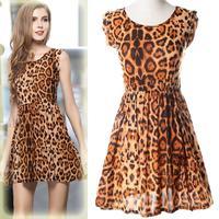 High quality New collection Women Leopard Print Mini Dress vestido retro Casual slim O-Neck Milk Fiber Pleated leopard dress
