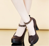 women high heels Genuine Leather platform shoes buckle strap hoof heels student leather shoes 32 33 41 42 43 40 sy-1016