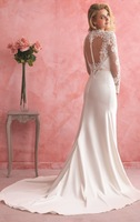 Elegant Long Sleeves Wedding Dresses Scoop Neck White Lace Mermaid Wedding Gowns Made In China