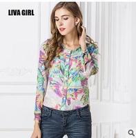 2014 Europe  United States O neck collar stamp show thin  long sleeve chiffon print button casual sheer blouse shirt  women top