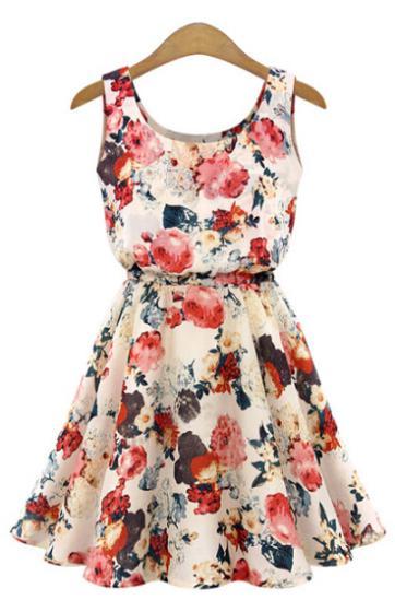 Brand Fashion Women New Desigual Apricot Sleeveless Round Neck Florals Print Pleated Dress 2014 Saias Femininas Summer Clothing(China (Mainland))