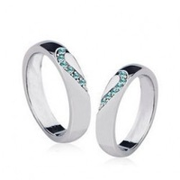 Couples Rings wholesale - Silver Love Couple Rings - Forever Love ( light blue ) 4135-3