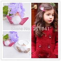 Free shipping 16pcs/lot girl children band/clip rabbit fur CROWN Tiara hair clips birthady Tiara Baby Princess crown headwear