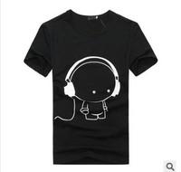 2014 new summer men short-sleeved T-shirt, slim half-sleeved shirt, men's round neck T-shirt headphones
