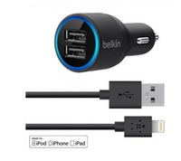 Free Shipping New Belkin 2-port USB Car Charger & Lightning Cable for iphone5/ 5S/ iPod/Ipad
