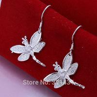 Fashion jewelry 925 Sterling Silver womens women Female earrings hook dragonfly drop dangle girl friend birthday gift box KE09