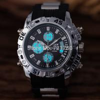 2014 New 30M Waterproof Rubber Sports Watches Men Quartz Digital Watch Dual Time Clock Men Wristwatch Military Watch for Men