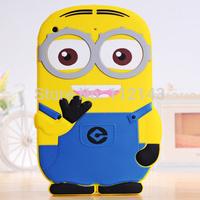 Hotsale 3D cute Cartoon Despicable Me Minions Soft Silicone Case cover For Ipad Mini 1 2
