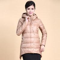 2014 Winter Thicken Warm Woman Down jacket Hooded Coat Parkas Outerweat Luxury Cold Irregular Plus Size 3XXXL Long Khaki