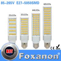 Foxanon Brand Led Light E27 5050 Horizontal plug lights 85-265V 110V 220V 7W 9W 11W 15W Lamps 25 35 44 60LEDS Corn Bulb Lighting