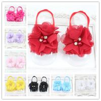 Retail Baby girls Barefoot Sandals sandalia infantil menina First Walkers Newborn Infant Flower Sandals 1 pair