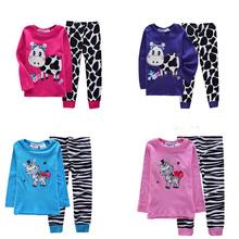 Children's Pajamas Fashion girls sleepwear suits cartoon pyjama animal kids clothes t-shirt +pants 2pcs Sets baby clothing B360(China (Mainland))