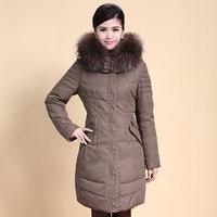 2014 Winter Thicken Warm Woman Down jacket Hooded Coat Parkas Outerweat Luxury Raccoon Fur collar Plus Size 4XXXXL Long Khaki