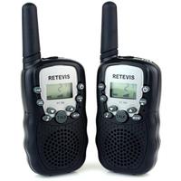 2pcs Black Walkie Talkie T-388 UHF 462.550-467.7125MHz 0.5W 22CH LCD Display Flashlight VOX Two-Way Radio For Kid Children
