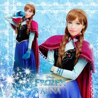 Deluxe Frozen Cosplay Frozen Princess Anna Costume Newest Frozen Anna Costume Women Cosplay Dress