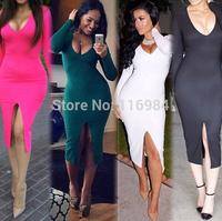 Fashion Women Evening Club Party Bandage Bodycon Deep V-Neck Dress S-3XL