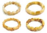 6pc mix designs gem  Natural Stone Yellow Jade Nugget  beaded Stretch bracelet bangle DCB17-20