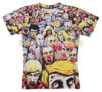 Hot sale New fashion 2014 Mens/Womens Short Sleeve Zombies 3D Fun T-shirt Women Men Tops T-shirt S M L XL XXL