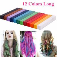 Non-toxic Hair Pastels Crayons 12 Colors Hair Chalk Long Size Temporary  Hair Color Pastel Dye Sticks