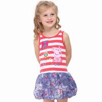 Summer 2014 new Pepe pig peppa pig girl sleeveless striped dress children H4546