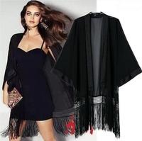 Hot Black Tassel Women Casual Chiffon Tops Kimono Lady Coat  Jacket plus size S-XL
