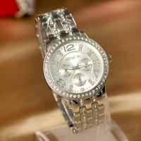 Free shipping Retail Diamond Steel Band Wristwatch 18K gold-plated watch women relogio masculino