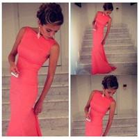 2015 New Fashion Women Sexy Prom Party Dresses Sleeveless Long Bandage Dress Club Dress Free Shipping