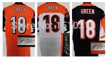 Free Shipping AJ Green Autographed Jerseys,American Football Cincinnati #18 white/black/orange Elite Signed Jersey, mix order(China (Mainland))