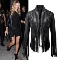 2015fashion personality fashion tassel slim motorcycle leather clothing outerwear jacket 14120904