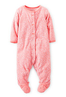 Carters Baby Girls 1-PieceJumpsuit,Microfleece Snap-Up Sleep And Play Romper,Pink Cat Baby Girls Jumpsuit,Freeshipping,In store