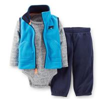 Carters Baby Boys Set,3-Piece Microfleece Vest +Pant+ Cotton Bodysuit boys Set,Bear Pantten Blue Vest Sets,Freeshipping,In store