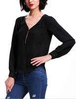 Women Shirt Zipper V Neck Pullover Chiffon Blouses Good Quality Blusas Tops 4 Color B7119Z Fshow