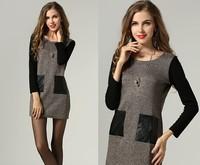 2015 new antumn winter fashion women long sleeve O neck pocket casual dress work dress women clothing 2color plus size L-6XL