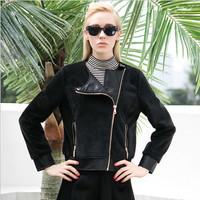 Women'S Leather Jacket O-Neck Fashion Zipper Black Leather Jacket Coat Winter Motorcycle Leather & Suede Leather Coat Women Full
