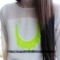 Fashion Jewelry HipHop Chokers Necklace Silver Chain Neon Acrylic Water Drop Big Pendant Necklaces For Women Stage Accessories
