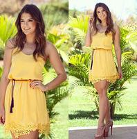 Sexy cute yellow strap lace dress chiffon vestido amarelo de renda vestidos rendado feminino vestido curto festa