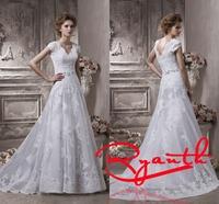 RBW081 Vestido De Noiva Elegant V-Neck Short Sleeve Empire Long Wedding Dresses 2015 Vestido De Noiva Curto Cheap Bridal Gowns