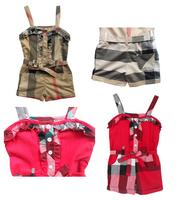 Retail 2015 new arrive brand children clothig baby girls overalls girls plaid fashion pants children clothing