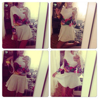 2015 Women Top And Skirt Set Clothing Sexy White O-Neck Hot Selling Flower Printing 2 Piece Set Women Saia Set