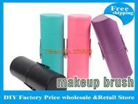 Free Shipping! 10 sets/lot 4 Colors  Makeup Brush Set 12pcs/set makeuo brushes Kit Leather Cup Holder Case