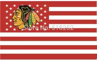 NHL Chicago Blackhawks US stripe Flag 3x5 FT 150X90CM Banner 100D Polyester flag 1107, free shipping