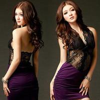 2014 new arrival Openwork lace halter sexy short dress package hip dress women print lace sexy slim dress sleepwear