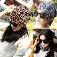 Winter Woman Casual Leopard Print Hats Infinity Scarf Fashion Cashmere Snow Wind Unisex Cap Thicken Skullies&Beanies