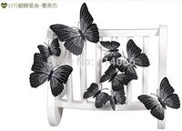 New 12Pcs/Lot Vinyl 3D Black  Butterflies For Wall Art Decal Removable Home Decoration DIY Beautiful Wall Stciker Home Decor
