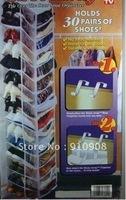 Free shipping 20pcs/lot Amazing door hanging shoe bag 30 pairs over door hook as seen on tv Free shippig