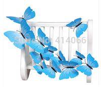 New 12Pcs/Lot Vinyl 3D Blue Butterflies For Wall Art Decal Removable Home Decoration DIY Beautiful Wall Stciker Home Decor