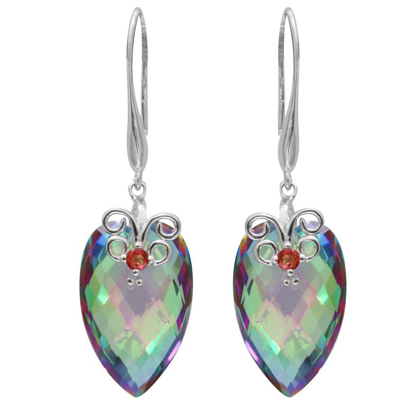 23ct Natural Mystic Fire Rainbow Topaz Garnet Drop Earrings Dangle Genuine 925 Sterling Silver Women Fine Jewelry Chessboard(China (Mainland))